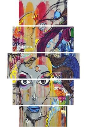 YediRenk Dekor Grafiti Kadın Dekoratif 5 Parça Mdf Tablo