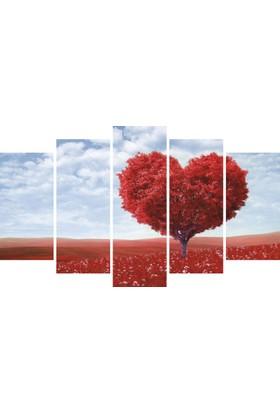 YediRenk Dekor Kalp Ağaç Manzara Dekoratif 5 Parça Mdf Tablo