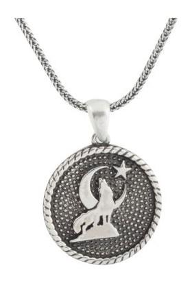 Anı Yüzük Yuvarlak Kesim Bozkurtlu Gümüş Erkek Kolye