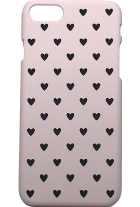 Vendas iPhone 7 Siyah Kalp Desenli Pembe Rubber Arka Kapak + Ekran Koruyucu