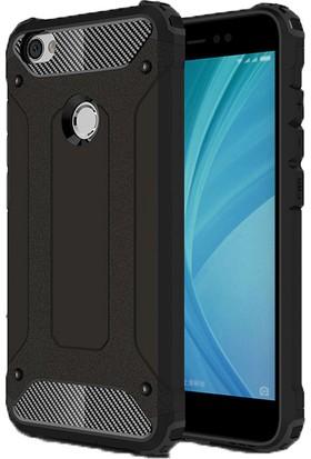Case 4U Xiaomi Redmi Note 5A Kılıf Çift Katman Zırh Koruma Tank Arka Kapak Siyah