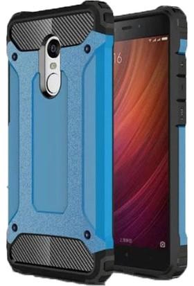 Case 4U Xiaomi Redmi 5 Plus Kılıf Çift Katman Zırh Koruma Tank Arka Kapak Mavi