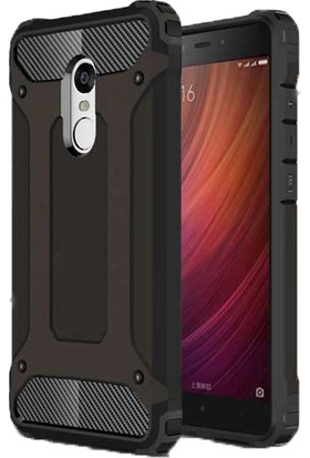 Case 4U Xiaomi Redmi 5 Kılıf Çift Katman Zırh Koruma Tank Arka Kapak Siyah