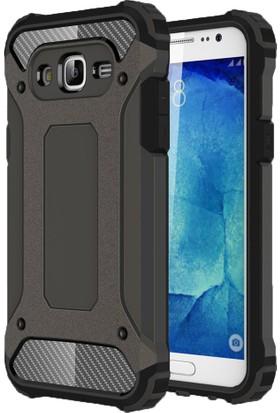 Case 4U Samsung Galaxy J7 Kılıf Çift Katman Zırh Koruma Tank Arka Kapak Siyah
