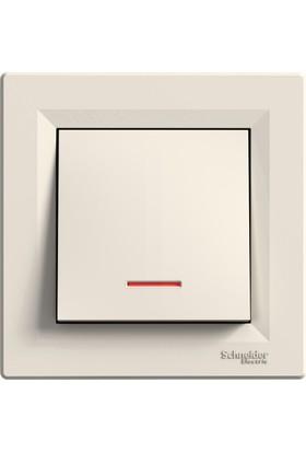 Schneider Asfora Krem Işıklı Anahtar (Çerçeveli)