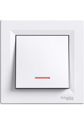 Schneider Asfora Beyaz Işıklı Anahtar(Çerçeveli)