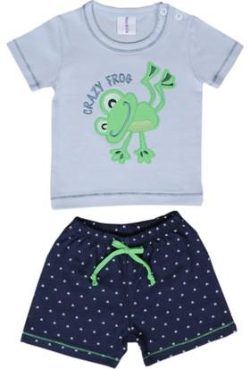 Happy Moon Kurbağa Nakışlı Mavi T-Shirt Ve Yıldız Baskılı Lacivert Şort