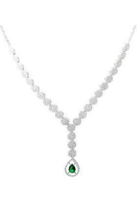 Anı Yüzük Gümüş Yeşil Zirkon Taşlı Kadın Set