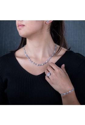 Anı Yüzük Gümüş Kar Tanesi Model Kadın Takı Seti