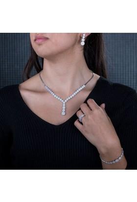 Anı Yüzük Gümüş Zirkon Taşlı Yuvarlak Model Kadın Set