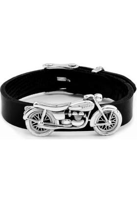 Anı Yüzük 925 Ayar Gümüş Motosiklet Kabartmalı Orijinal Deri Kayışlı Bileklik
