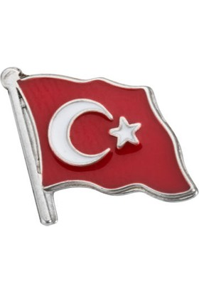 Anı Yüzük Gümüş Dalgalanan Türk Bayrağı Yaka Rozeti