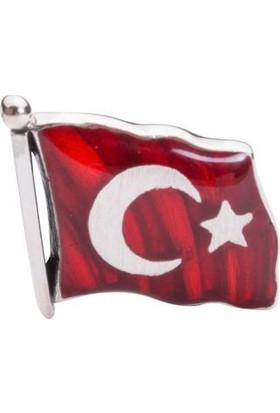 Anı Yüzük Türk Bayrağı Motifli Yaka Rozeti