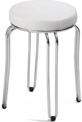 Sandalye Keyfi Beyaz Deri Papatya Tabure