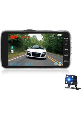 Novatek 4 inç IPS Ekran NT89D +16GB Full HD 8 LED Çift Yön Araç Kamera