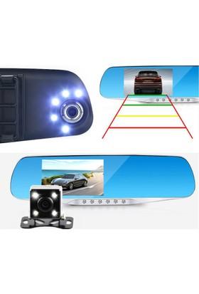 Allwinner 4.3 inç IPS AW54HD 5 LED Çift Yön Dikiz Ayna Araç İçi Kamera