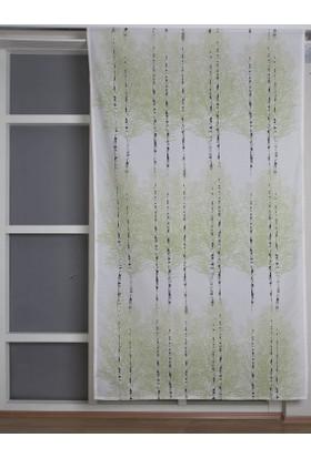 Melodie Fon Perde Yeşil Beyaz 145X250