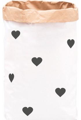 Bugy Bagy Paperbag Dekoratif Çamaşır ve Oyuncak Sepeti Saklama Kutusu Oda Aksesuarı Siyah Kalpler Büyük Boy