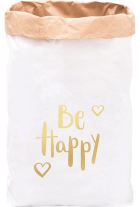 Bugy Bagy Paperbag Dekoratif Çamaşır ve Oyuncak Sepeti Saklama Kutusu Oda Aksesuarı Be Happy Büyük Boy