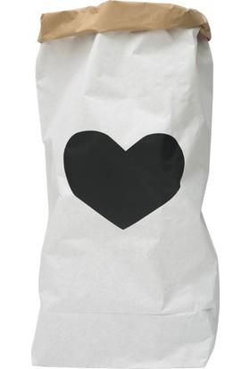 Bugy Bagy Paperbag Dekoratif Çamaşır ve Oyuncak Sepeti Saklama Kutusu Oda Aksesuarı Siyah Kalp Orta Boy