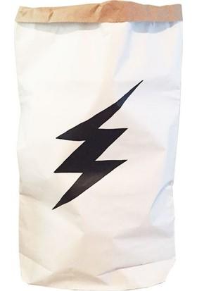 Bugy Bagy Paperbag Dekoratif Çamaşır ve Oyuncak Sepeti Saklama Kutusu Oda Aksesuarı Elektrik Orta Boy