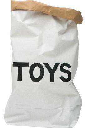 Bugy Bagy Paperbag Dekoratif Çamaşır ve Oyuncak Sepeti Saklama Kutusu Oda Aksesuarı TOYS Orta Boy