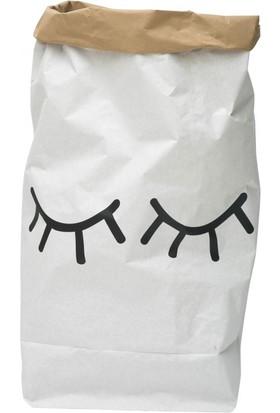 Bugy Bagy Paperbag Dekoratif Çamaşır ve Oyuncak Sepeti Saklama Kutusu Oda Aksesuarı Kapalı Göz Orta Boy