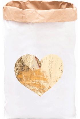 Bugy Bagy Paperbag Dekoratif Çamaşır ve Oyuncak Sepeti Saklama Kutusu Oda Aksesuarı Sarı Kalp Orta Boy