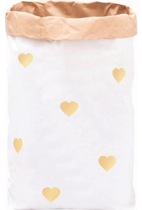 Bugy Bagy Paperbag Dekoratif Çamaşır ve Oyuncak Sepeti Saklama Kutusu Oda Aksesuarı Sarı Kalpler Orta Boy