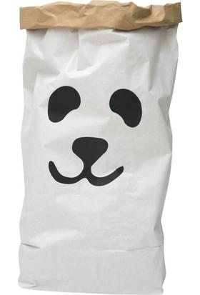 Bugy Bagy Paperbag Dekoratif Çamaşır ve Oyuncak Sepeti Saklama Kutusu Oda Aksesuarı Panda Orta Boy