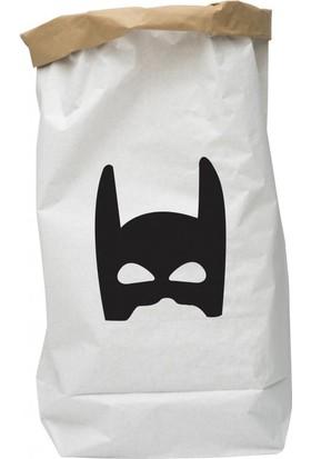 Bugy Bagy Paperbag Dekoratif Çamaşır ve Oyuncak Sepeti Saklama Kutusu Oda Aksesuarı Maske Orta Boy