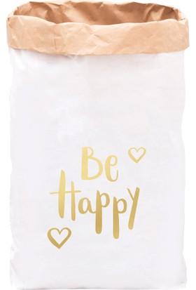 Bugy Bagy Paper Bag Dekoratif Çamaşır ve Oyuncak Sepeti Saklama Kutusu Oda Aksesuarı Be Happy Orta Boy