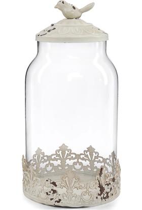 Maison White Decor Kuş figürlü eksitme beyaz cam kavanoz