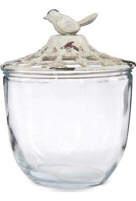 Maison White Decor Ferforje kapak üzerine kuş figürlü cam saklam kabı