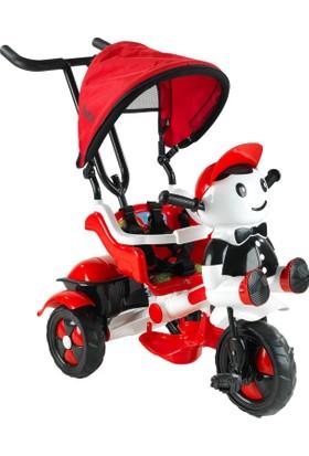 Babyhope 125 Yupi Panda Ebeveyn Kontrollü Tenteli Müzikli Tricycle Üç Teker Bisiklet-Kırmızı/Beyaz
