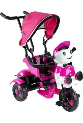 Babyhope 125 Yupi Panda Ebeveyn Kontrollü Tenteli Müzikli Tricycle Üç Teker Bisiklet -Pembe