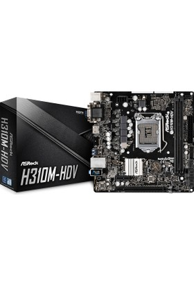 ASRock H310M-HDV Intel H310 2666MHz DDR4 Socket 1151 mATX Anakart (ASRH310M-HDV)