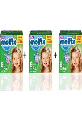 Molfix Bebek Bezi Aylık Paket 6 Beden 15+KG 50x3 150adet- 3 Koli