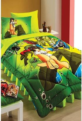Kupon Tek Kişilik 2`li Microfiber Heroes Yeşil Desenli Yorgan