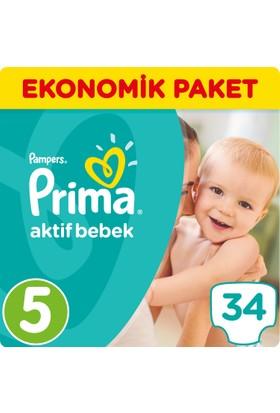 Prima Bebek Bezi Aktif Bebek 5 Beden Junior Ekonomik Paket 34 Adet
