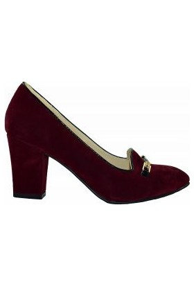 Punto 634080 Suni Deri Tokalı Kadın Ayakkabı Bordo