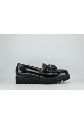 Jeny 726 Zenne Suni Deri Eva Püsküllü Kadın Ayakkabı Siyah