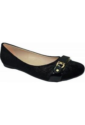 Jeny 145 Suni Deri Kadın Babet Ayakkabı Siyah