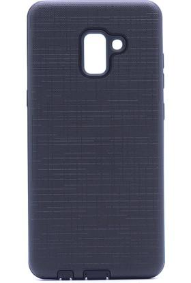 Case 4U Samsung Galaxy A8 Plus 2018 Kılıf Kumaş Desenli Koruyucu Kapak Siyah