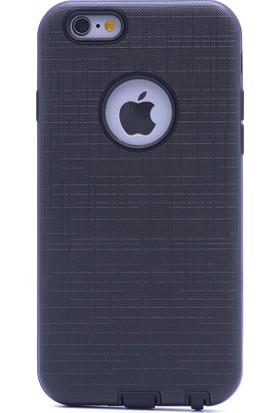 Case 4U Apple iPhone 6 / 6S Kılıf Kumaş Desenli Koruyucu Kapak Siyah
