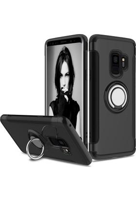 Case 4U Samsung Galaxy S9 Kılıf Yüzüklü Darbeye Dayanıklı Altın (Mıknatıslı Araç Tutucu Uyumlu) Siyah