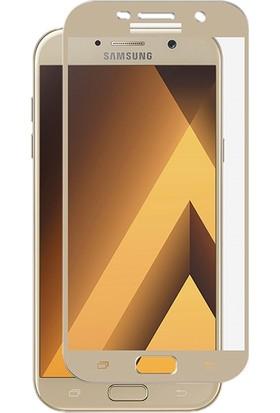 Case 4U Samsung Galaxy A5 2017 Tam Kaplayan Ekran Koruyucu - Nano Fiber - Altın