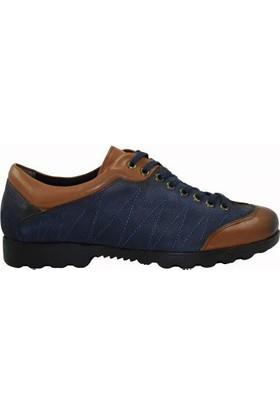Tutum 2005 Bağcıklı Deri Nubuk Erkek Spor Ayakkabı Lacivert - Taba