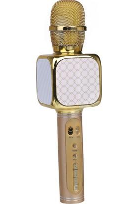 TechnoStyle Helyumlu İnce ve Kalın Ses Çıkaran Eğlenceli Karaoke Mikrofon Altın
