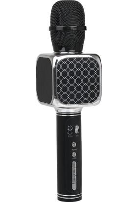 TechnoStyle Helyumlu İnce ve Kalın Ses Çıkaran Eğlenceli Karaoke Mikrofon Gümüş